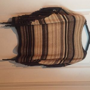 Ralph Lauren L/XL beige and brown Poncho sweater